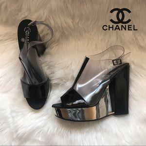 Rare Authentic CHANEL Transparent Wedge Sandals